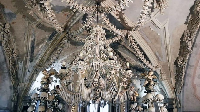 The church is built from  human bones  The church is built from 40,000 human bones.